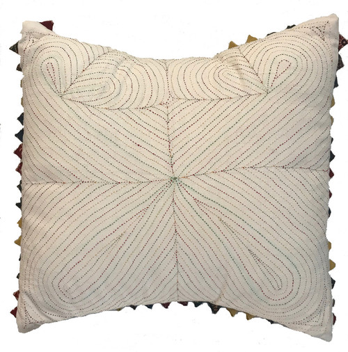 "Cotton White Handstitched Pillow India (17"" x 17"")"