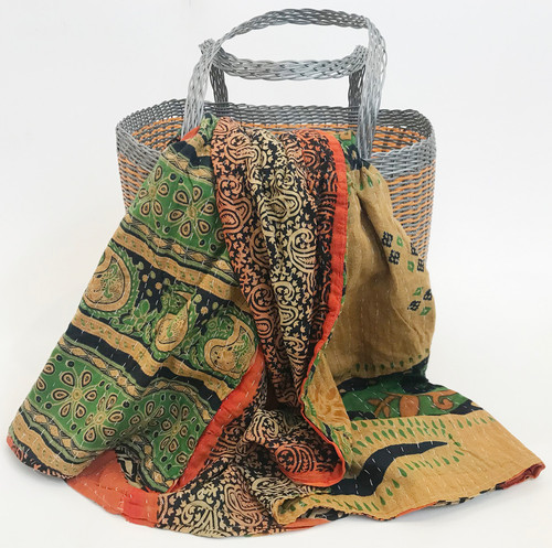 Picnic Basket with Kantha Quilt 2 India and Guatemala