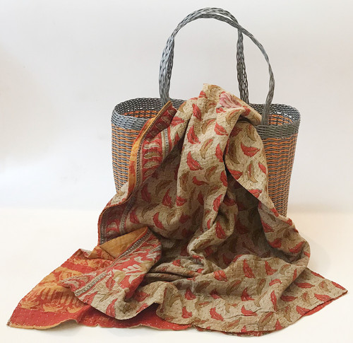 Picnic Basket with  Kantha Quilt 14 India and Guatemala