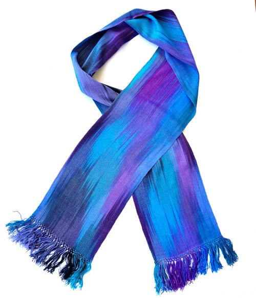 Handwoven Hand Dyed Bamboo Scarf Blues Purple Guatemala