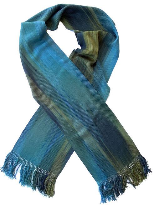 Handwoven Hand Dyed Bamboo Scarf Deep Blues and Green Guatemala