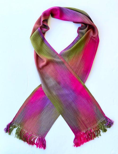 "Handwoven Hand Dyed Bamboo Scarf Fuchsia Purple Green Guatemala (8"" x 68"")"