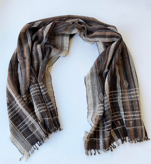 "Handwoven Woolen Natural Striped Throw India (38"" x 88"")"