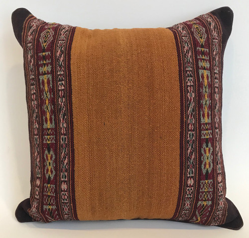 "Handwoven Traditional Woolen Natural  Dyed Pillow 1  Peru (18"" x 18"")"