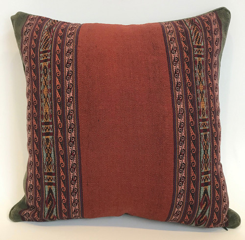 "Handwoven Traditional Woolen Natural  Dyed Pillow 2  Peru (18"" x 18"") rust olive brick"