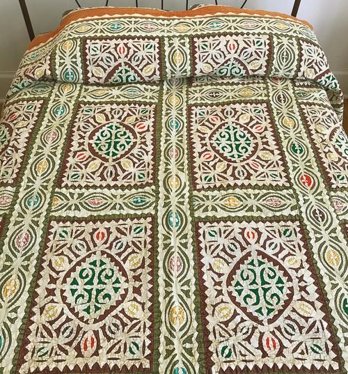 "Hand Stitched Appliqué  Quilt India  (92"" x 108"")"