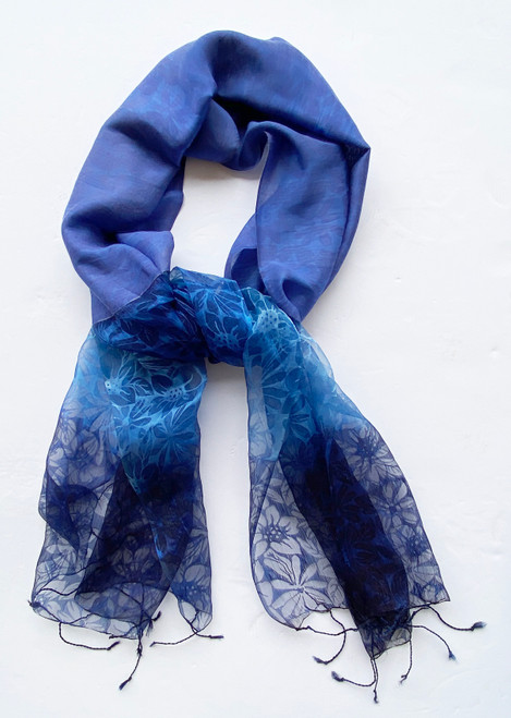 "Silk Sheer Floral Scarf Blue India (20"" x  70"")"