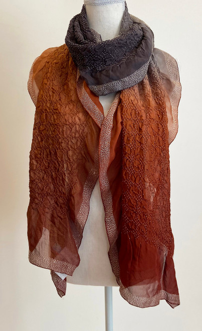 """Hand Dyed Silk Bandhani and Stitched Silk Scarf India (17"""" x 76"""")"""