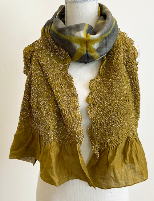 "Hand Dyed Silk Bandhani Silk Scarf India (22"" x 72"")"