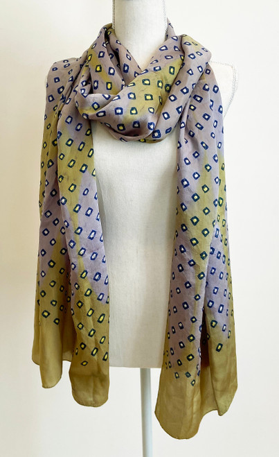 "Hand Dyed Silk Bandhani Silk Scarf India (21"" x 91"")"