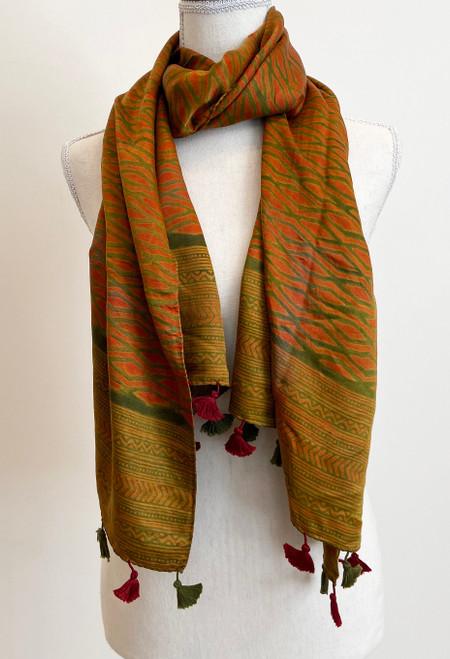 "Hand Block Printed Natural Dyes Tasseled Silk Scarf Orange India (21"" x 66""))"
