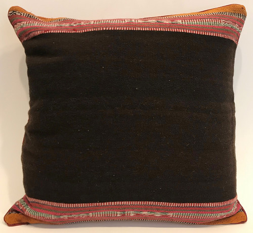 "Handwoven Traditional Woolen Pillow  Rich Brown Peru (20"" x 20"")"