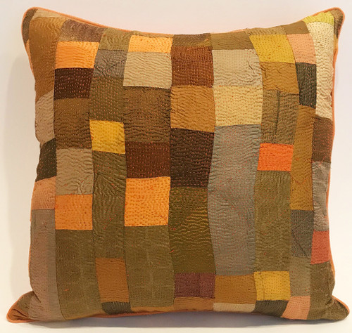 "Hand Quilted Bright Patchwork Silk Pillow India (18"" x 18"")"