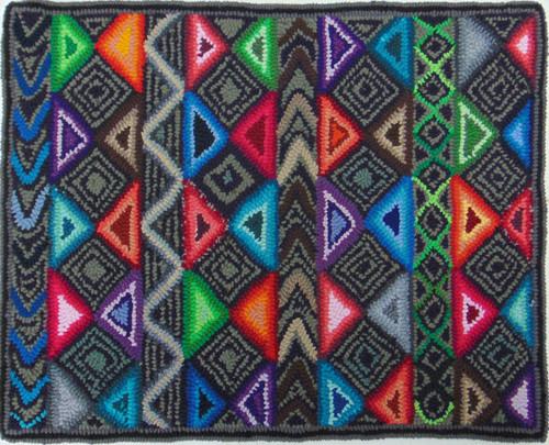 """Handmade Hooked Small Rug by Tomasa  2 Guatemala (18"""" x 22"""")"""