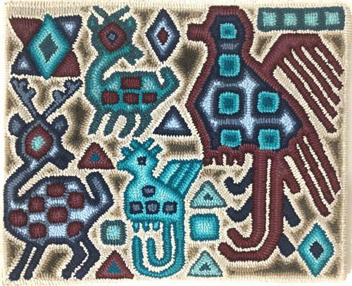 "Handmade Hooked Small Rug by Irma Raquel 2 Guatemala (18"" x 22"")"