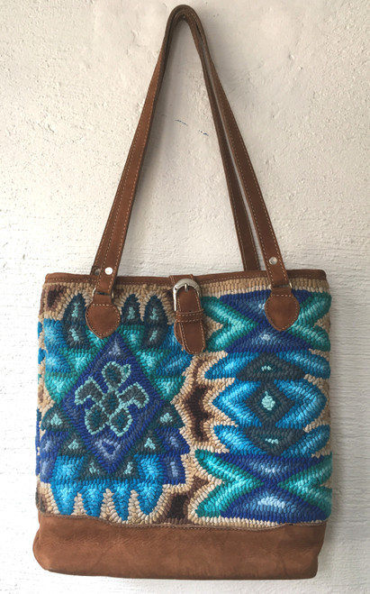 "Hand Hooked Shoulder Bag by Micaela Guatemala ( 14"" x13"")"