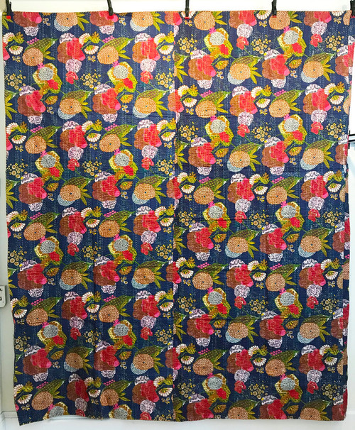 """Handmade Block Printed Lightweight Stitched  A Coverlet (90"""" x 105"""")"""
