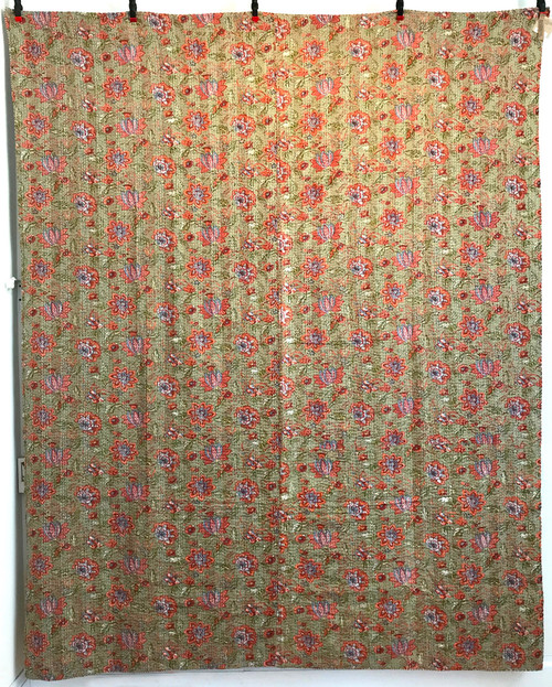 "Handmade Block Printed Lightweight Stitched D Coverlet (85"" x 103"")"