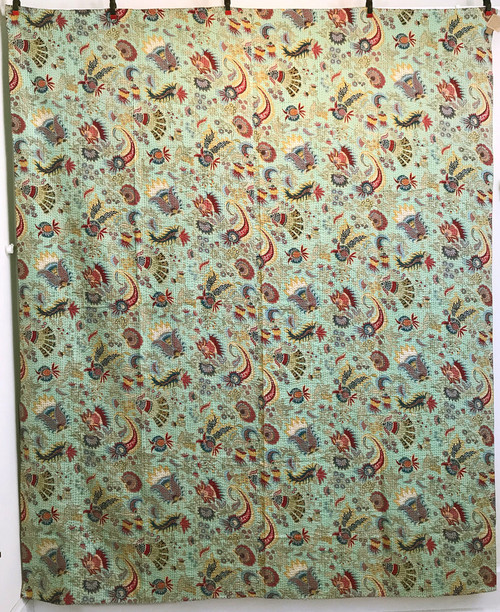"Handmade Block Printed Lightweight Stitched H Coverlet (85"" x 105"")"