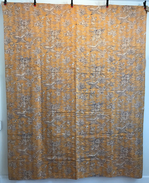 "Handmade Block Printed Lightweight Stitched L Coverlet (86"" x 104"")"
