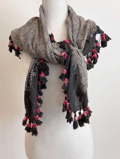 "Hand Dyed Bandhani Tasseled Silk Scarf India (41"" x 41"")"