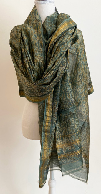 "Hand Block Printed Natural Dyes Silk Shawl India (42"" x 100"")"