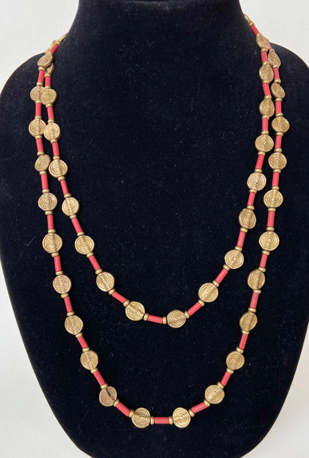 "Brass and Bead Necklace India ( 25"")"
