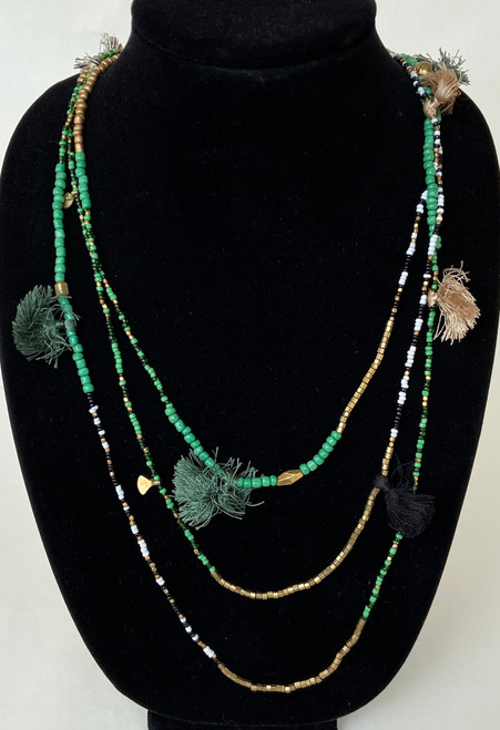 "Handmade Bead and Tassel Necklace  India ( 44"")"