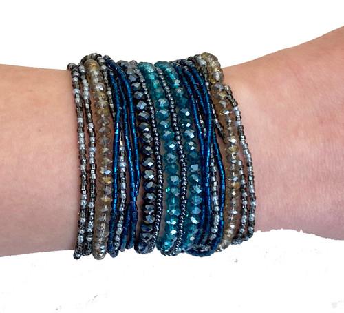 Beaded Bracelet Multi-strand Magnet Blues Guatemala