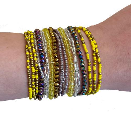 Beaded Bracelet Multi-strand Magnet Yellow Guatemala