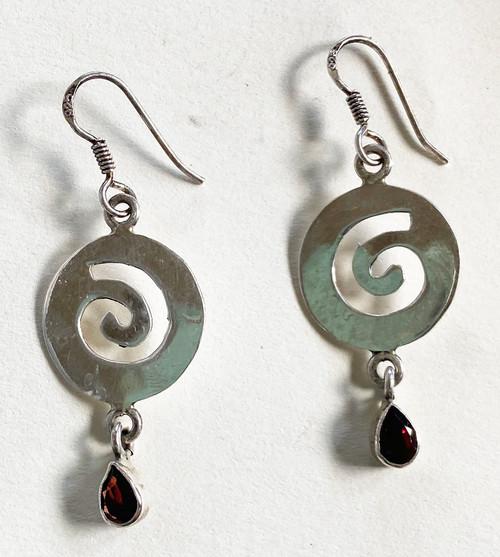 "Handmade Silver and Garnet Stone  Earrings India  (1.75"" long)"