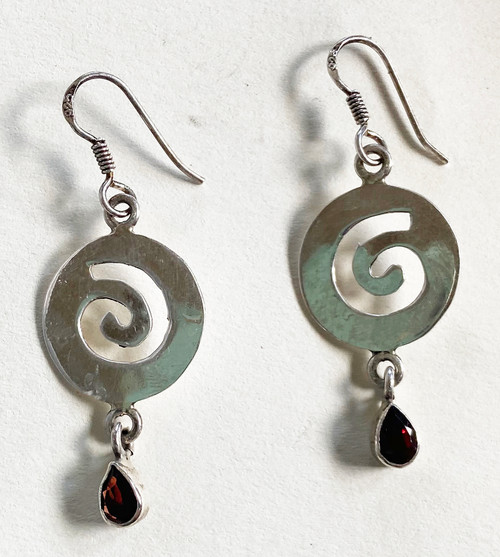 "Handmade Silver and Garnet Stone  Earrings India  (1.75"" long)"