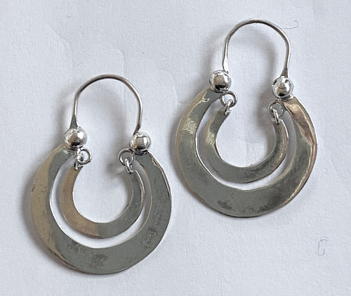 "Handmade Traditional Large Double Hoop Silver Earrings Guatemala (1"" hoop)"