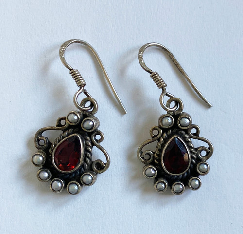 "Handmade Vintage Silver and Stones  Earrings India  (.75"" long)"