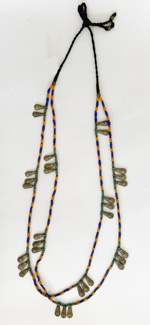 """Brass and Bead Long Necklace India (18""""long)"""