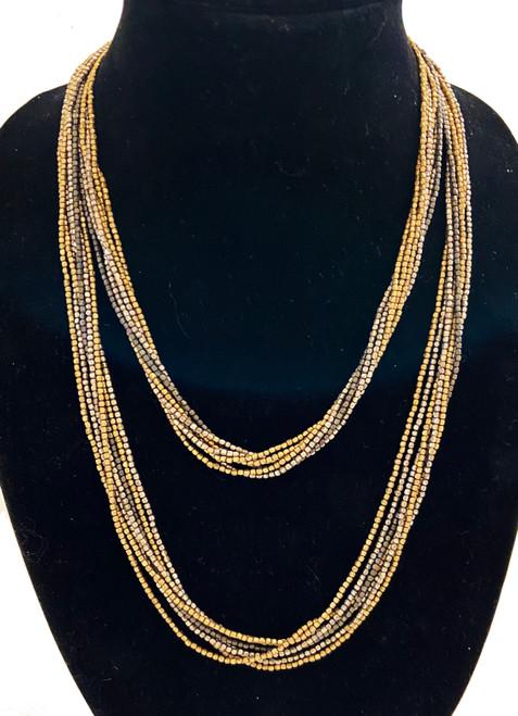 "Handmade Metal Bead 7 Strand Long  Necklace India (22"")"