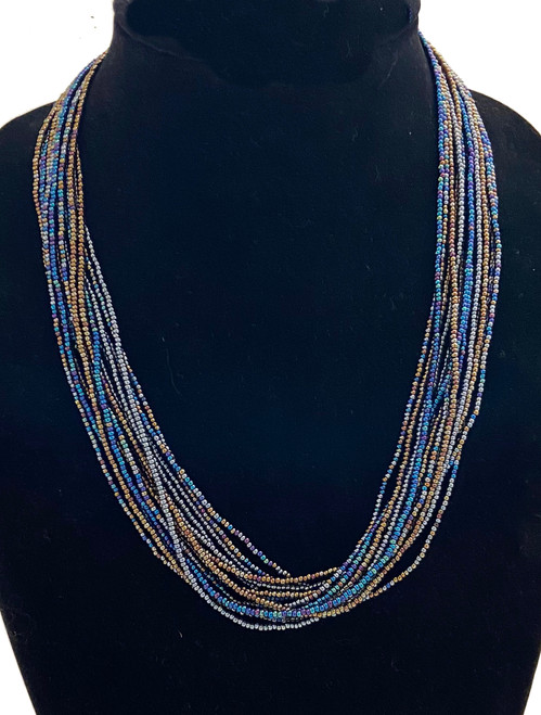 "Handmade 15 Strand Beaded Necklace Guatemala (9"" drop)"