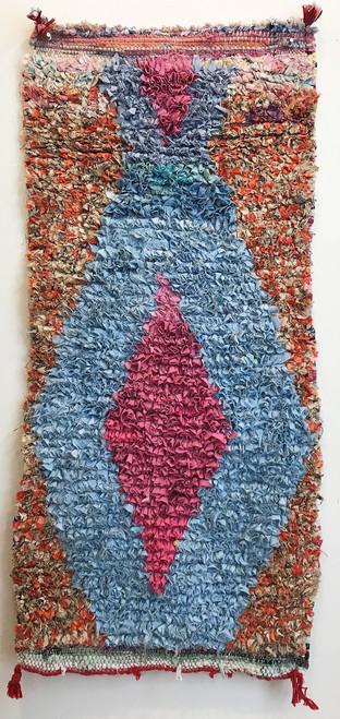 "Handwoven Small Boucherouite Rug  Morocco (20"" x 42"")"