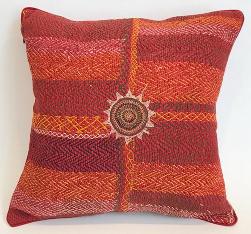 "Hand Stitched Vintage Banjara Pillow 2 India (18"" x 18"")"