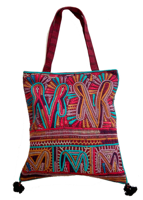 "Hand Applique and Stitched Shoulder B Bag  India (15"" x  17"")"