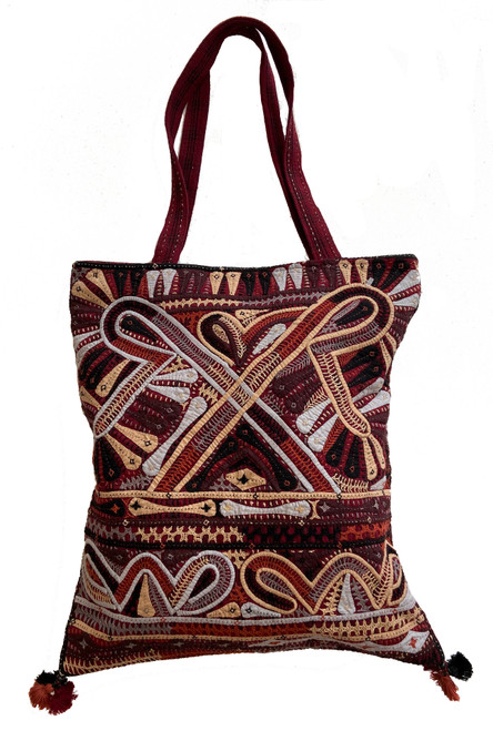"Hand Applique and Stitched Shoulder C Bag  India (15"" x  17"")"