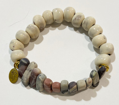 Handmade Stone and Ceramic Bead Bracelet  Haiti