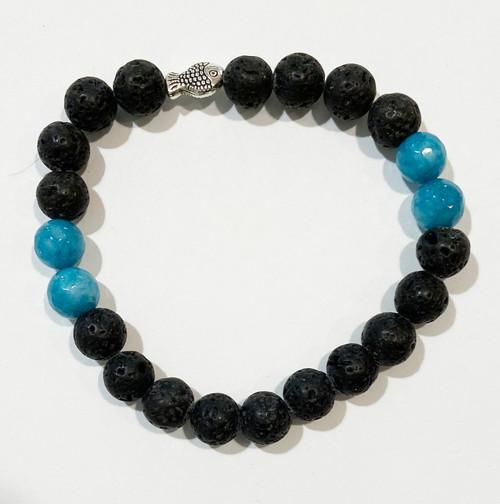 Handmade Blue Onyx and Lava Bead Bracelet India