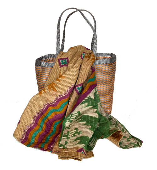 Picnic Basket with Kantha Quilt 11 India and Guatemala