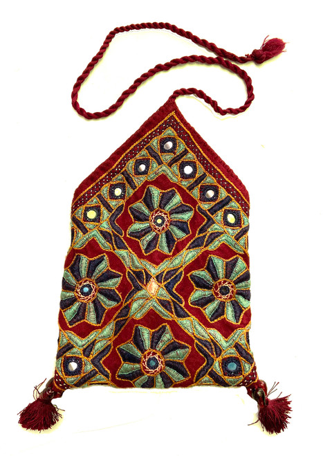 """Hand Embroidered Silk Envelope Bag India (5"""" x 5"""")"""