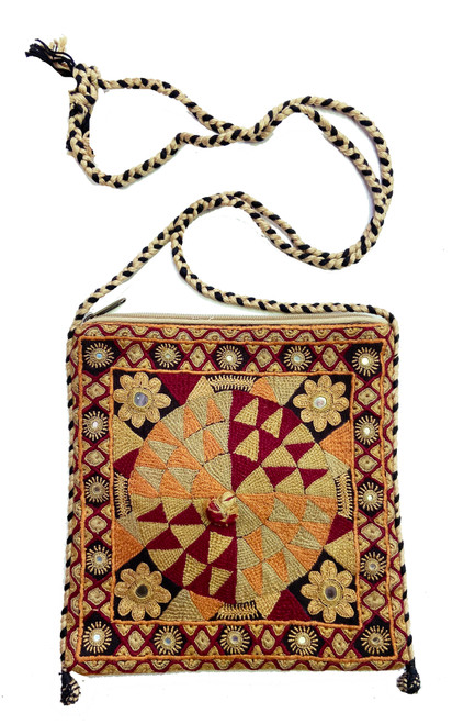 "Hand Embroidered Cotton Cross Shoulder Bag India (7.5"" x 7.5"")"