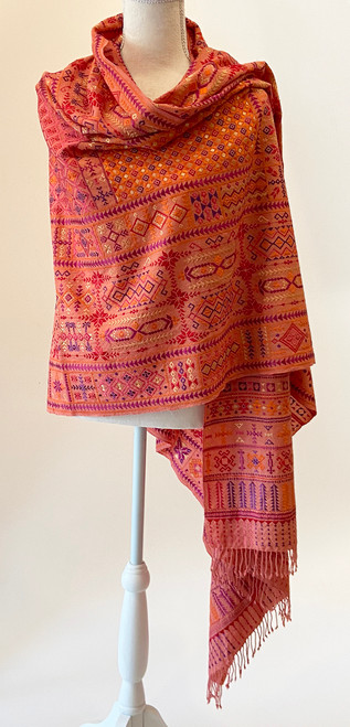 "Hand embroidered Fine Wool Shawl India (36"" x 90"")"