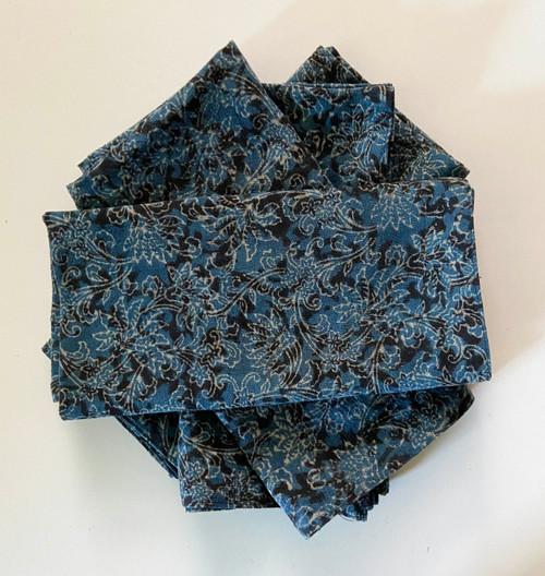 "Hand Block Printed Natural Dyed Napkins B India Set of 4   (18""x 18"")"