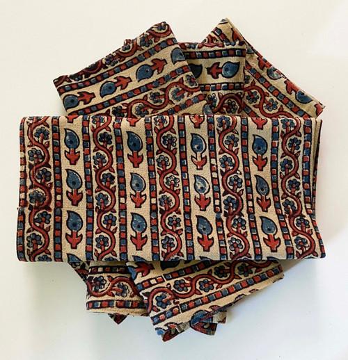 Hand Block Printed Natural Dyed Napkins C India Set of 4 indigo brick sand black