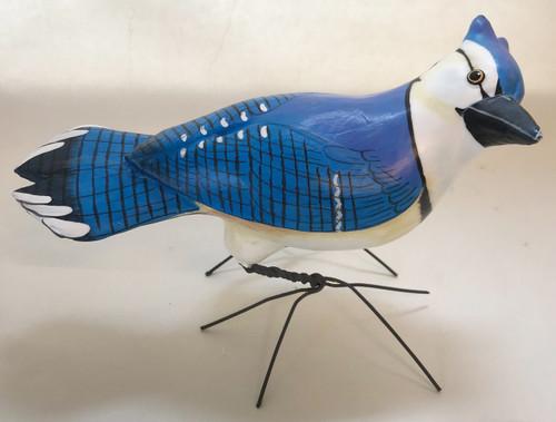 Handmade Blue Jay Painted Ceramic Bird Guatemala